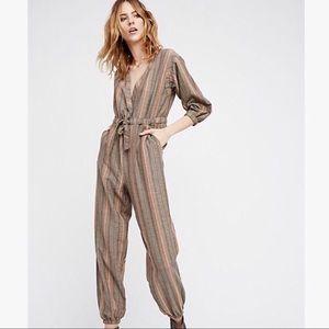 free people / brown striped loveland jumpsuit
